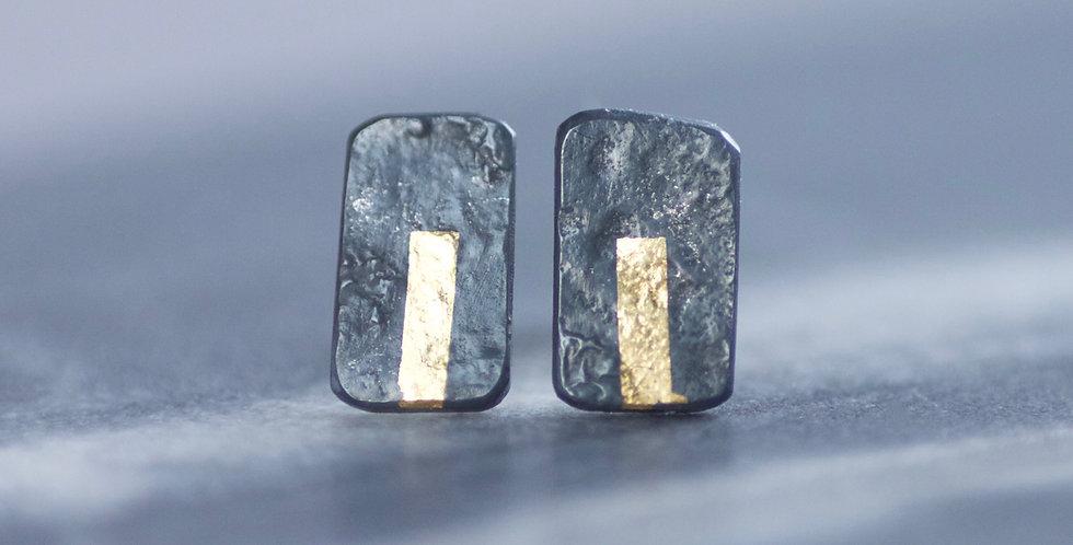 LINEAR Oxidised Mini Block Stud Earrings
