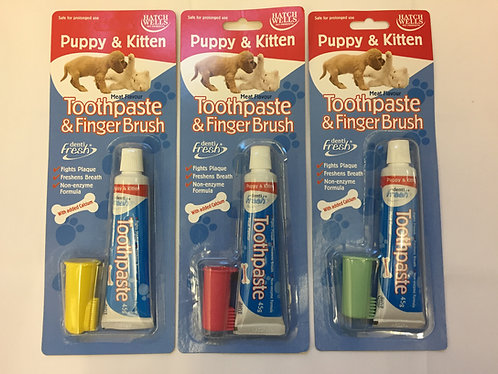 Hatch Wells Puppy and Kitten Toothpaste and Finger Toothbrush Set