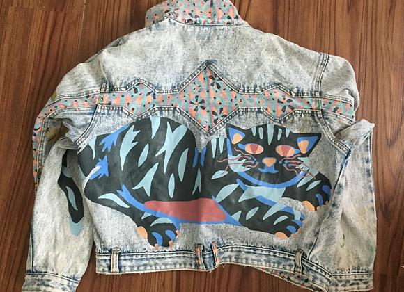 Acid Washed Denim Jacket w/Cat