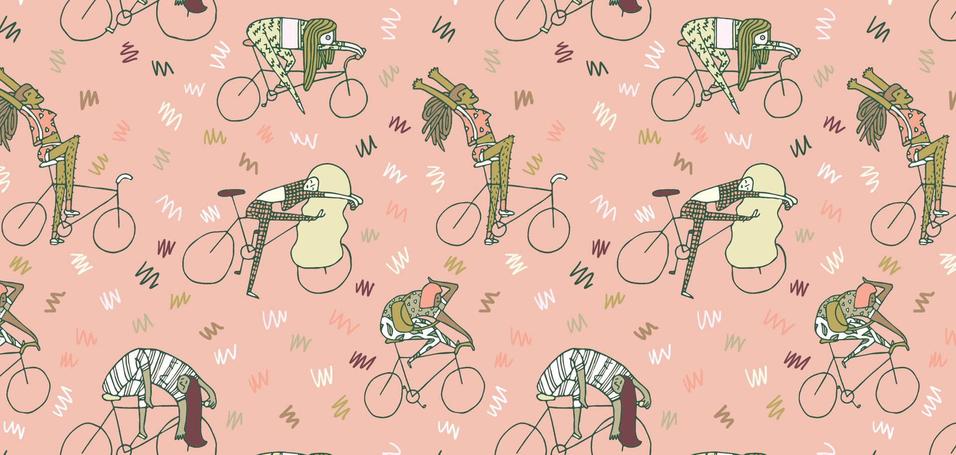 girls on bikes - gift wrap