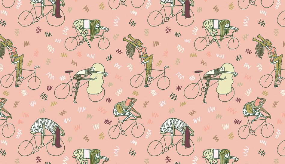 girls on bikes - gift wrap