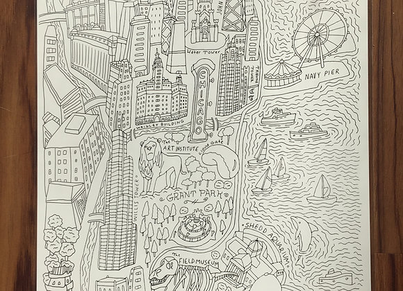 Chicago Map Coloring Page