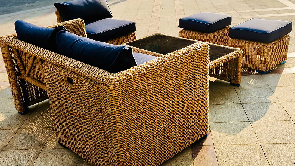 Convertible Synthetic Rattan Living Set