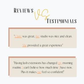 REVIEWS VS TESTIMONIALS