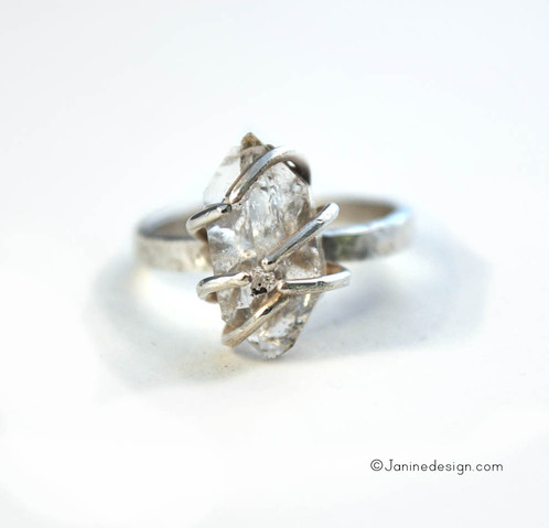 Hand mined herkimer diamond ring jewelry in holliston united hand mined herkimer diamond ring junglespirit Image collections