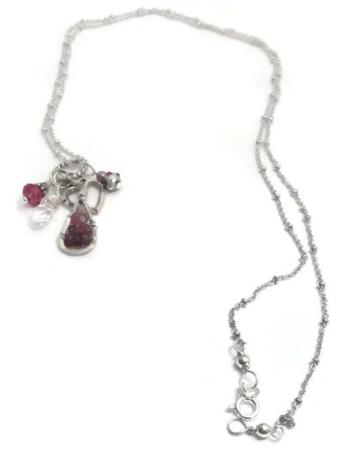 Silver Heart, Swarovski Crystals, Tourmaline And Sterling Beads.