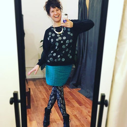 Today I'm wearing an outfit made by me! Top, skirt, lace leggings and porcelain necklace! My goal in