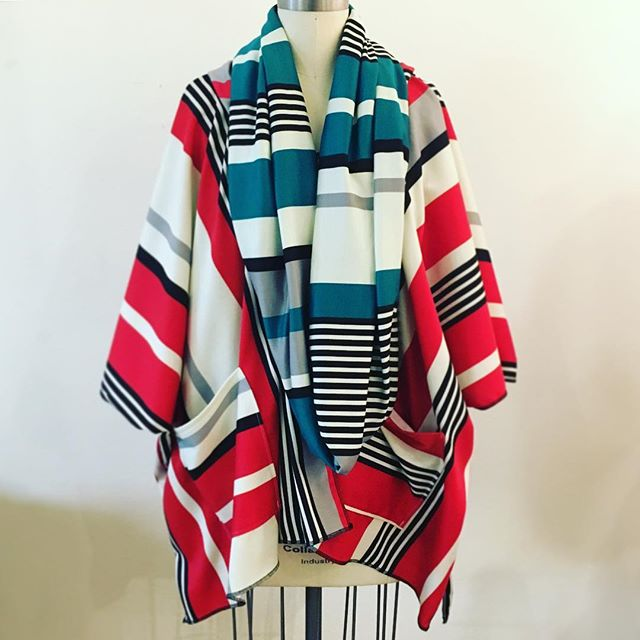Need color therapy__ A bright Hoodie Kimono pairs well with an infinity scarf this cold, gray, dark