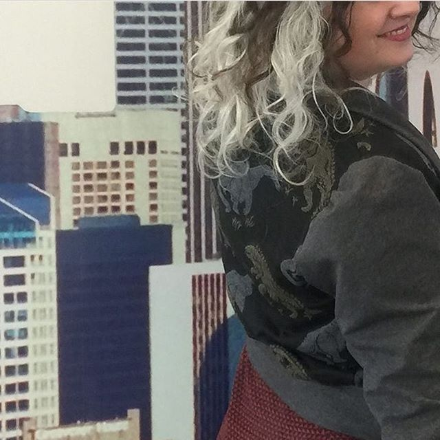 Dinosaur sighting in downtown Seattle! Other Peoples Polyester Dino Bomber Cardigan in ultra-soft co