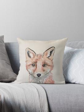 Clever Little Fox Throw Pillow