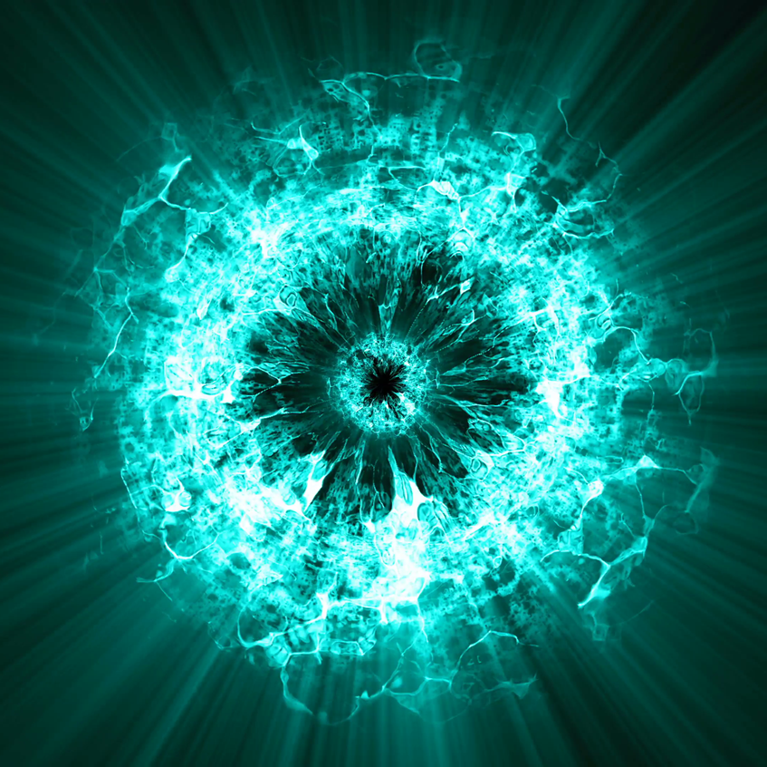 shock-wave-explosion-from-the-center-look-like-flame-and-in-circle-of-fire-heat-wave-with-ray-radiant-glowing-around-look-like-supernova-from-the-sun-cyan-turquoise-color-on-black-backgrou