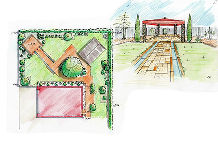Gartenplanung Handskizze