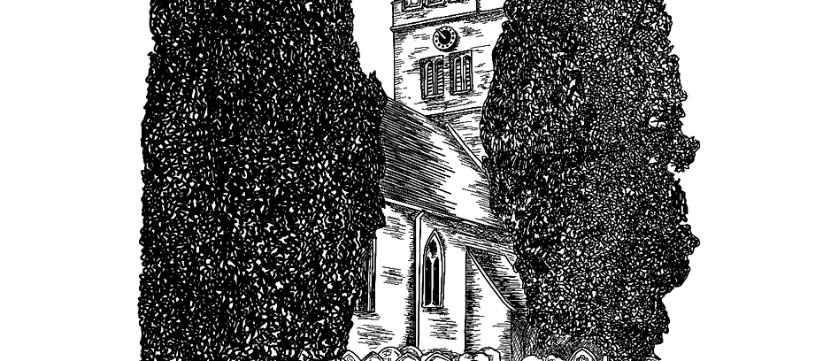 Black and white illustration of a church
