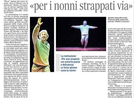 Ilaria Marinaci su Quotidiano di Lecce per il premio Eolo
