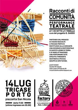 RACCONTI DI COMUNITA' a Tricase Porto una performance per raccontare il territorio