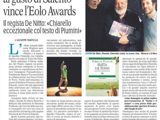 Giuseppe Martella su La Gazzetta del Mezzogiorno a proposito del premio Eolo
