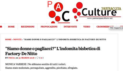 """""""Siamo donne o pagliacci?"""" L'indomita bisbetica di Factory-De Nitto - Monica Varrese su Paneacquacul"""