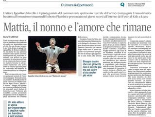 Mattia e il nonno visto da Ilaria Marinaci su Quotidiano di Puglia