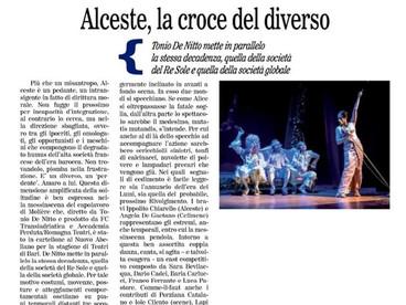 """Alceste, la croce del diverso Convince al nuovo Abeliano la messinscena del """"Misantropo"""" Italo"""