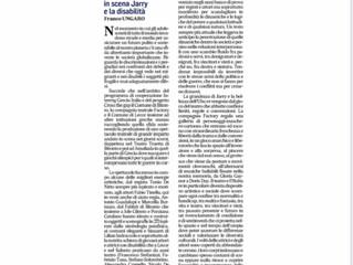 Hubu re raccontato da Franco Ungaro per Quotidiano di Puglia