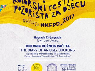 Diario di un brutto anatroccolo vince due premi in Montenegro