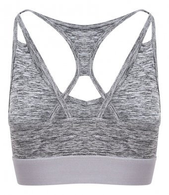 Flex Cross Back Crop Top - Grey
