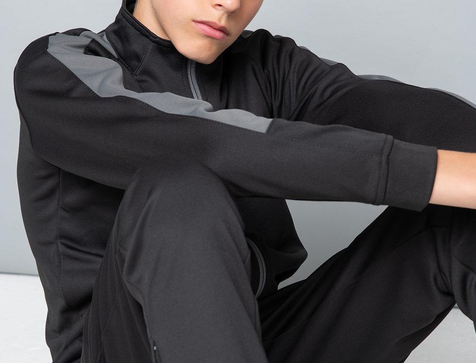 Kids Black/Grey Contrast Agility Tracksuit Jacket