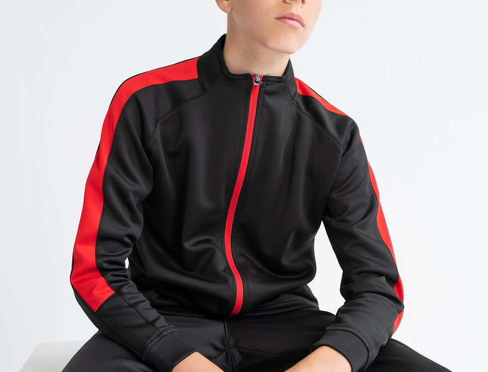 Kids Black/Red Contrast Agility Tracksuit Jacket