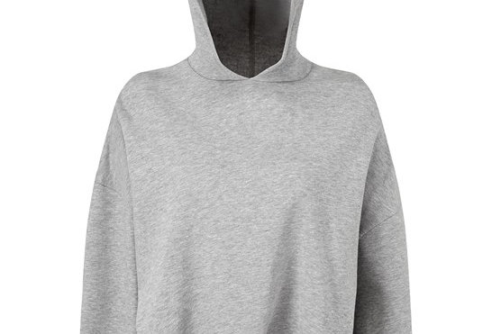 Grey Cropped Oversize Hoodie