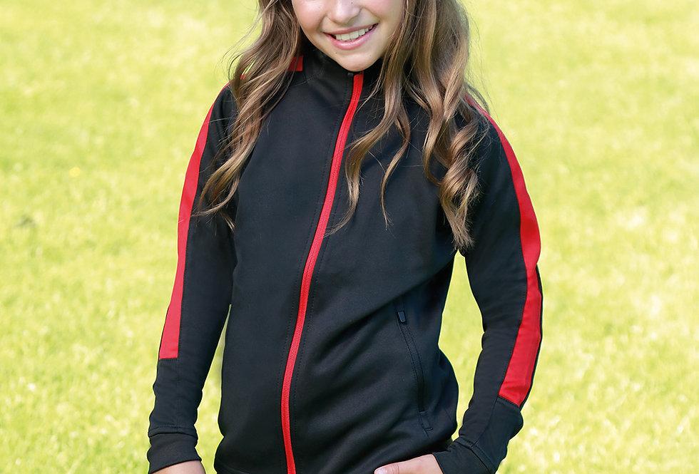 Kids Black/Red Contrast Agility Tracksuit Jacket