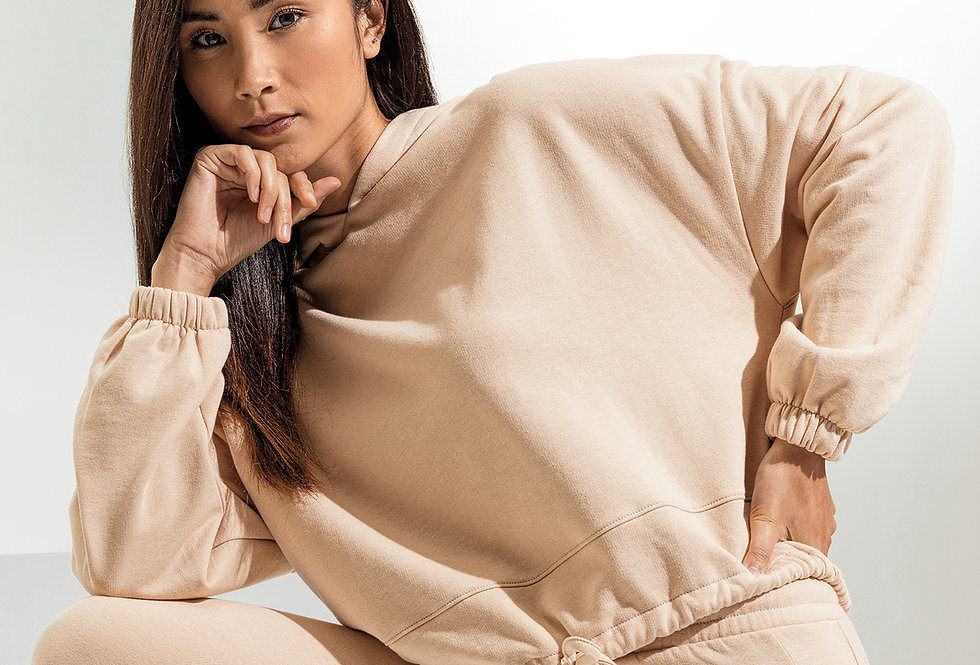 Nude Cropped Oversize Hoodie