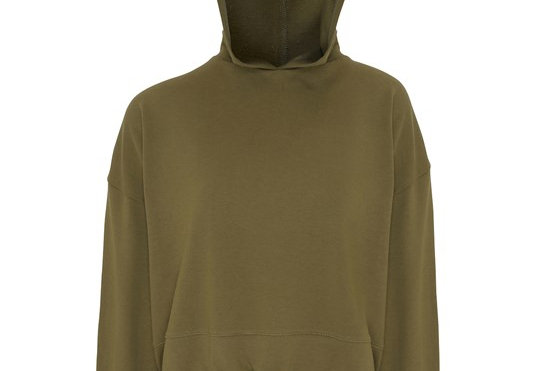 Olive Cropped Oversize Hoodie