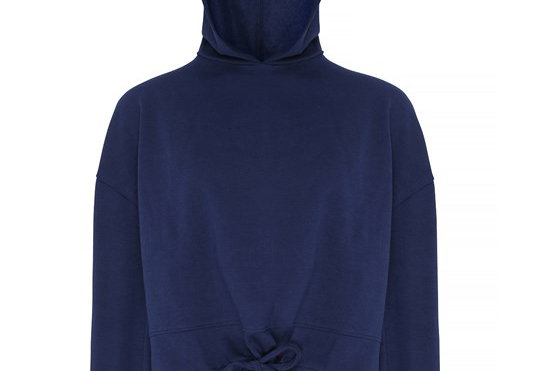 Navy Cropped Oversize Hoodie