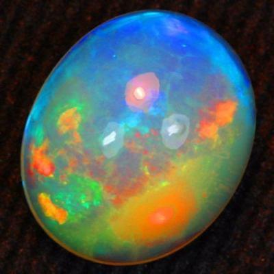 Opala Natural Base Azul Neon E Paleta De Cores C/ 3.35 Cts