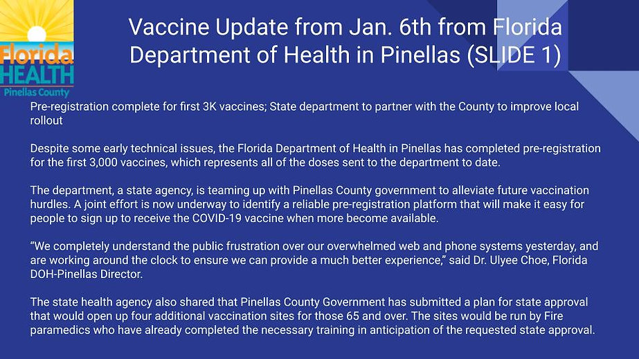 Vaccine Update from Florida Department o