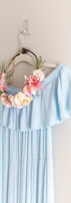 Size M/L/XL Pastel Blue Maternity Gown