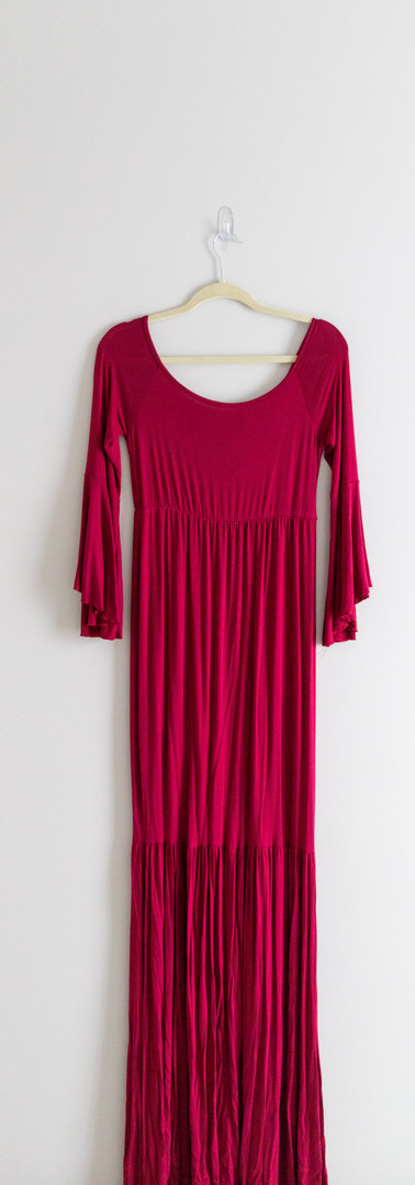 Size XL Burgundy Bell Sleeve Mermaid Maxi Dress with Train