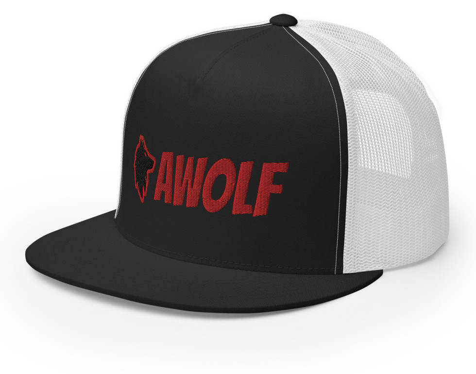 Black and Red and White Trucker Hat