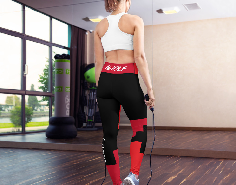 AWolf Black and Red Yoga Pants