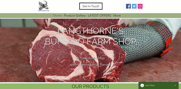 Langthornes Buffalo Farm Shop homepage p
