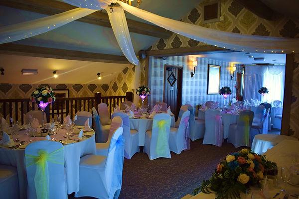 Wedding Set up using Light Pastel Colours, Martini Glass Centrepieces.