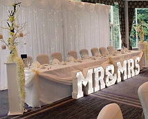 Led Starlight Backdrop behind Top Table.  2ft Mr&Mrs Light up Letters. Top Table Decor Preston