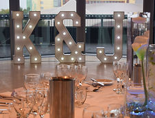 Hire 4ft Light up Letters Initials set up at the Lowry Theatre, Salford