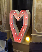 Hire 4ft Light up Led Heart with Red Led Bulbs set up at the Merewood Country House Hotel, Windermere, Cumbria
