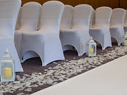 Aisle Lanterns for Ceremony with White Aisle Carpet/Runner & Rose Petals