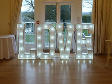 Hire 4ft Light up Love Letter Lights set up at West Tower, Aughton, Ormskirk