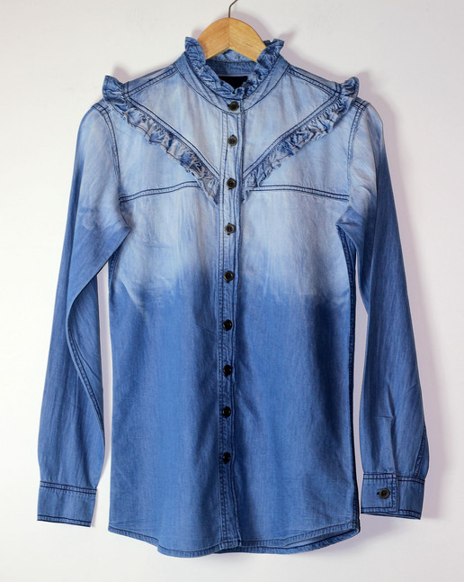 Denim Shirt with Frills