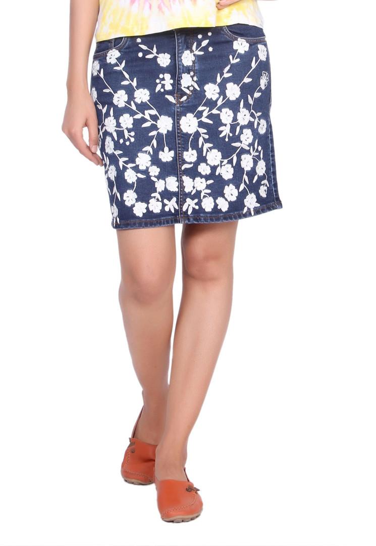 Blue Embroidered Skirt