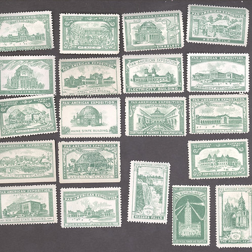 Green set of all 20 building stamps