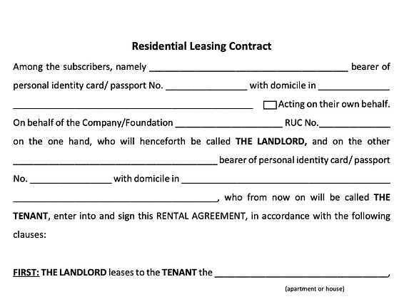 Residential Leasing Contract - ENGLISH version